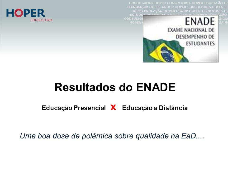 Resultados do ENADE Educação Presencial x Educação a Distância Uma boa dose de polêmica sobre qualidade na EaD....