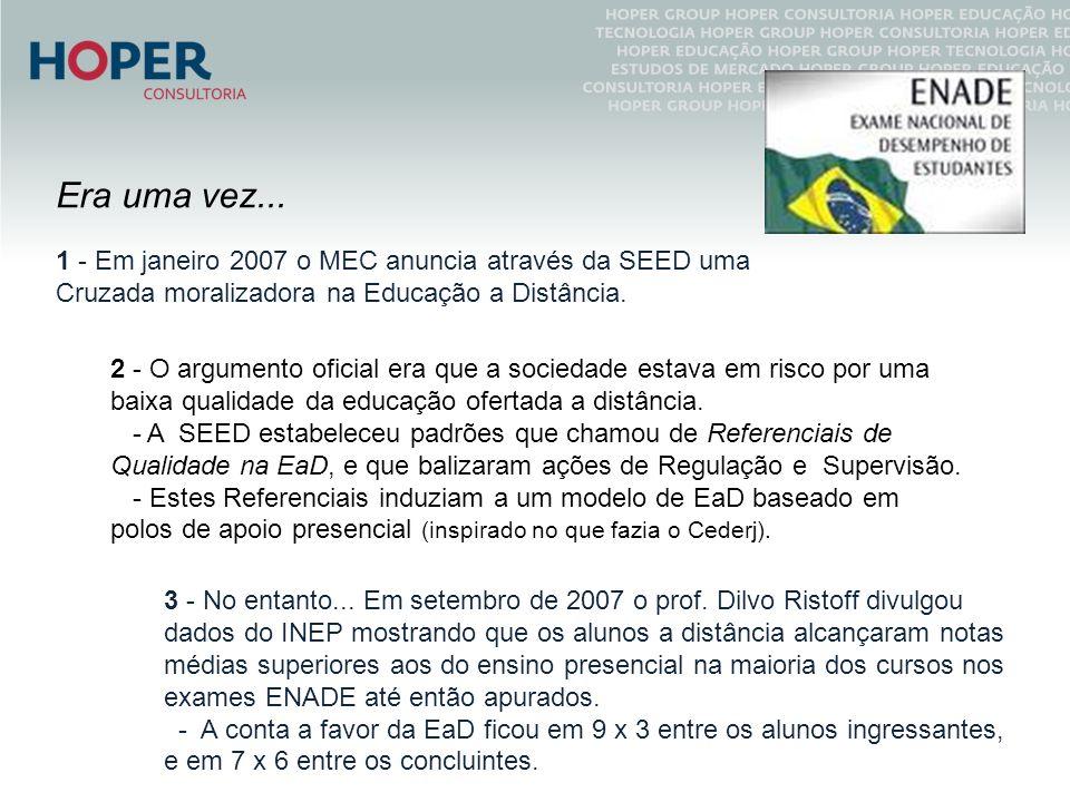 Era uma vez... 1 - Em janeiro 2007 o MEC anuncia através da SEED uma Cruzada moralizadora na Educação a Distância. 2 - O argumento oficial era que a s