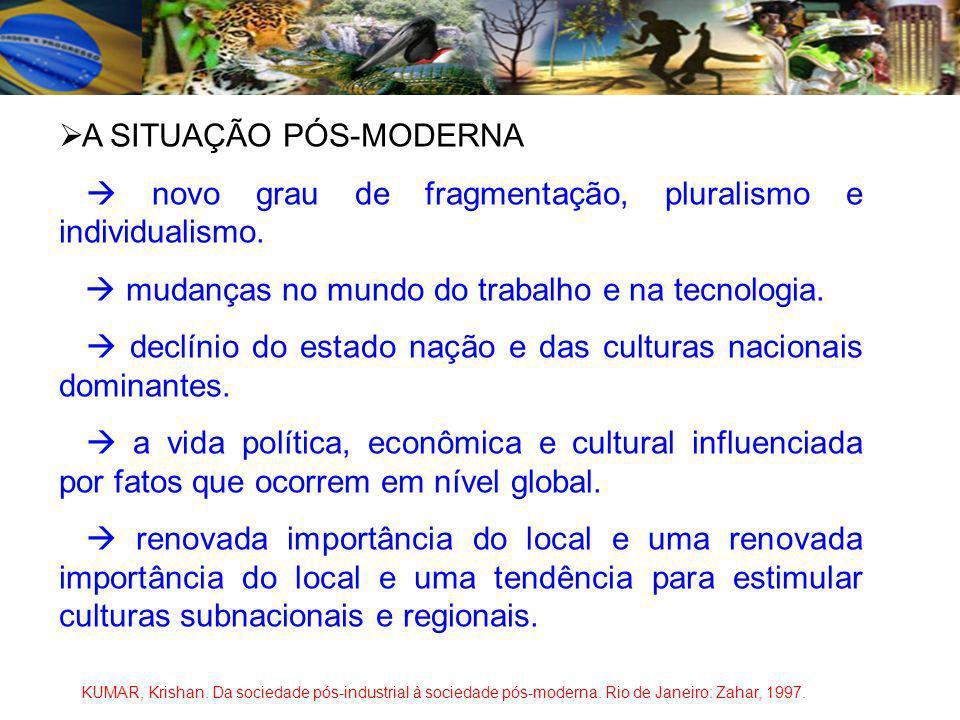 A SITUAÇÃO PÓS-MODERNA novo grau de fragmentação, pluralismo e individualismo.