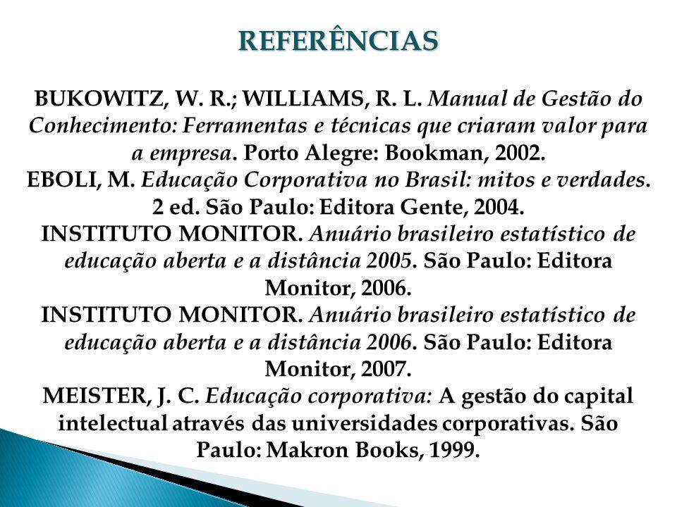 REFERÊNCIAS BUKOWITZ, W. R.; WILLIAMS, R. L. Manual de Gestão do Conhecimento: Ferramentas e técnicas que criaram valor para a empresa. Porto Alegre: