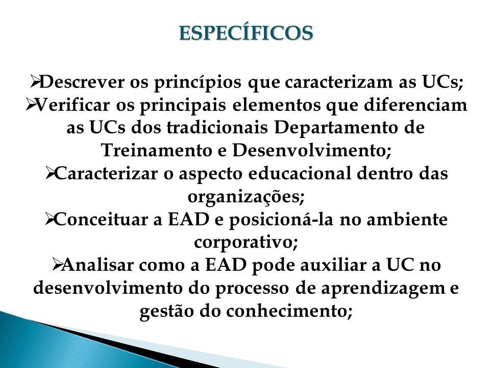 ESPECÍFICOS Descrever os princípios que caracterizam as UCs; Verificar os principais elementos que diferenciam as UCs dos tradicionais Departamento de