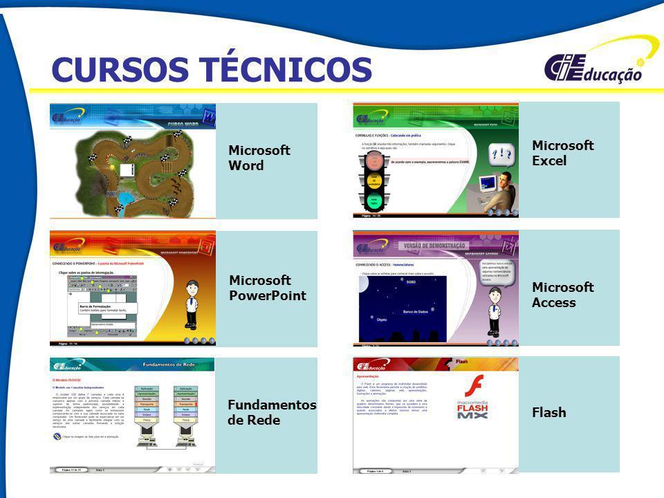 CURSOS TÉCNICOS Microsoft Excel Microsoft Word Microsoft PowerPoint Microsoft Access Fundamentos de Rede Flash CURSOS TÉCNICOS