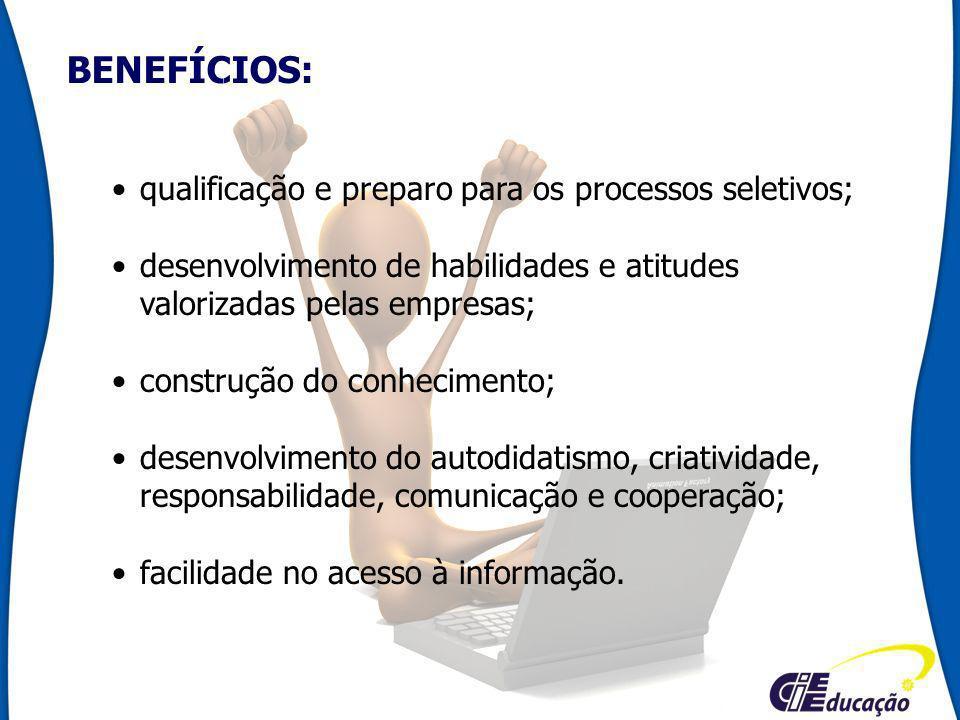 BENEFÍCIOS: qualificação e preparo para os processos seletivos; desenvolvimento de habilidades e atitudes valorizadas pelas empresas; construção do co