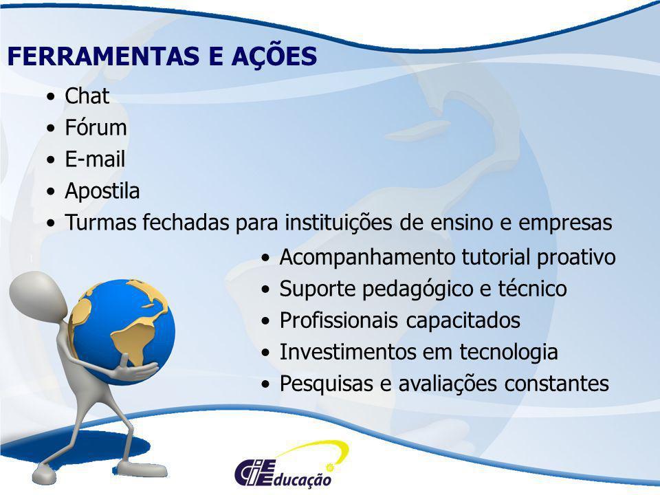 Chat Fórum E-mail Apostila Turmas fechadas para instituições de ensino e empresas FERRAMENTAS E AÇÕES Acompanhamento tutorial proativo Suporte pedagóg