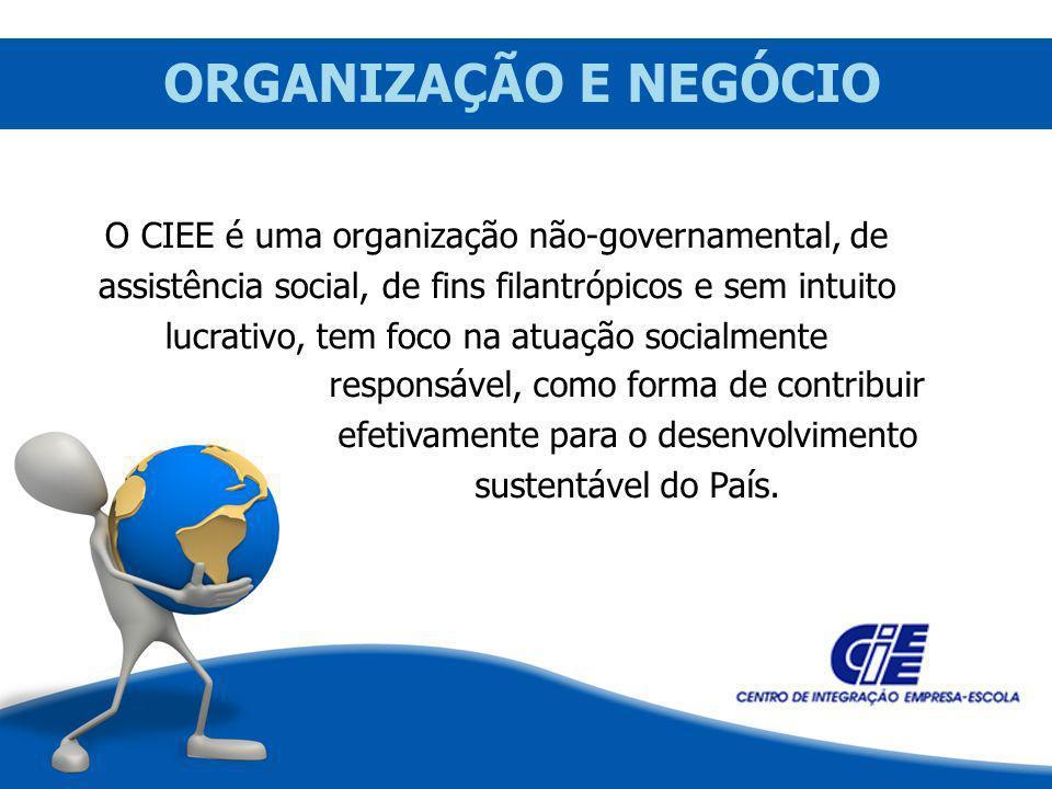 ORGANIZAÇÃO E NEGÓCIO O CIEE é uma organização não-governamental, de assistência social, de fins filantrópicos e sem intuito lucrativo, tem foco na at