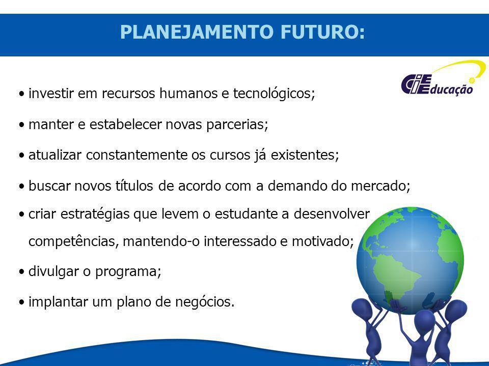 PLANEJAMENTO FUTURO: investir em recursos humanos e tecnológicos; manter e estabelecer novas parcerias; atualizar constantemente os cursos já existent