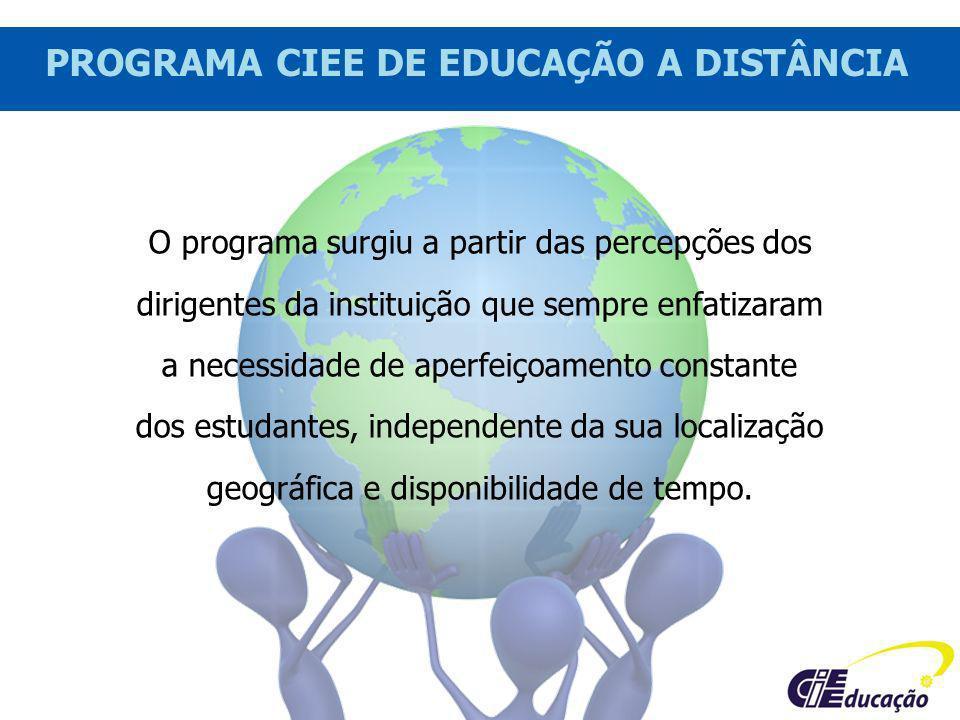 PROGRAMA CIEE DE EDUCAÇÃO A DISTÂNCIA O programa surgiu a partir das percepções dos dirigentes da instituição que sempre enfatizaram a necessidade de