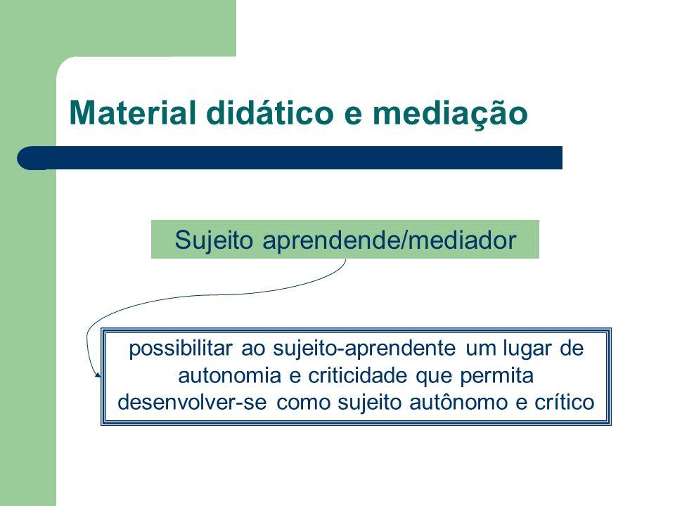 Material didático e mediação possibilitar ao sujeito-aprendente um lugar de autonomia e criticidade que permita desenvolver-se como sujeito autônomo e