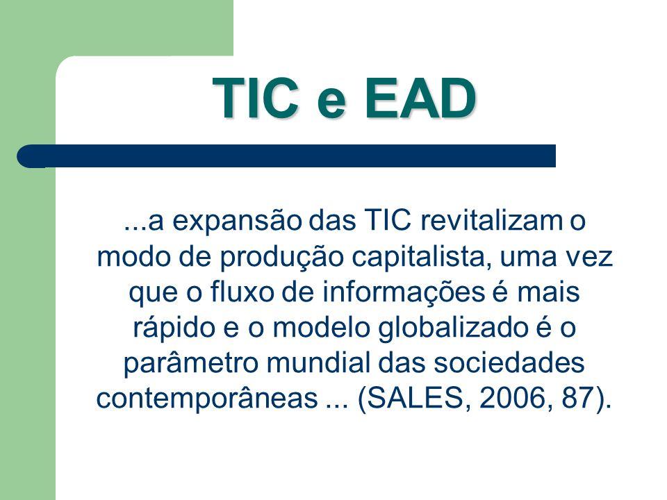 TIC e EAD...a expansão das TIC revitalizam o modo de produção capitalista, uma vez que o fluxo de informações é mais rápido e o modelo globalizado é o