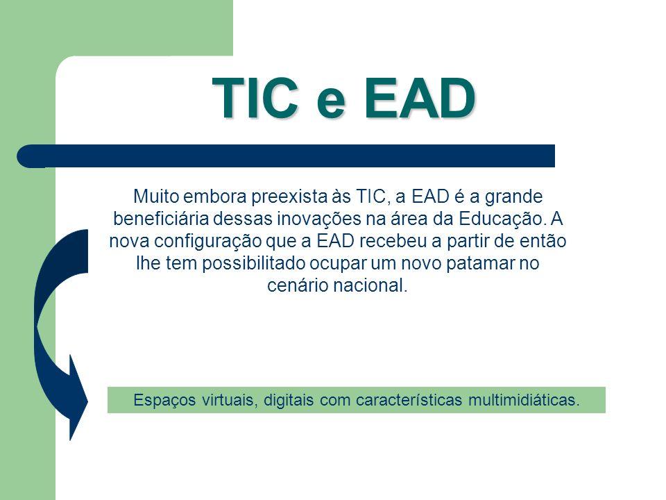 TIC e EAD Muito embora preexista às TIC, a EAD é a grande beneficiária dessas inovações na área da Educação. A nova configuração que a EAD recebeu a p