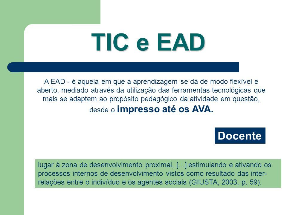 A EAD - é aquela em que a aprendizagem se dá de modo flexível e aberto, mediado através da utilização das ferramentas tecnológicas que mais se adaptem