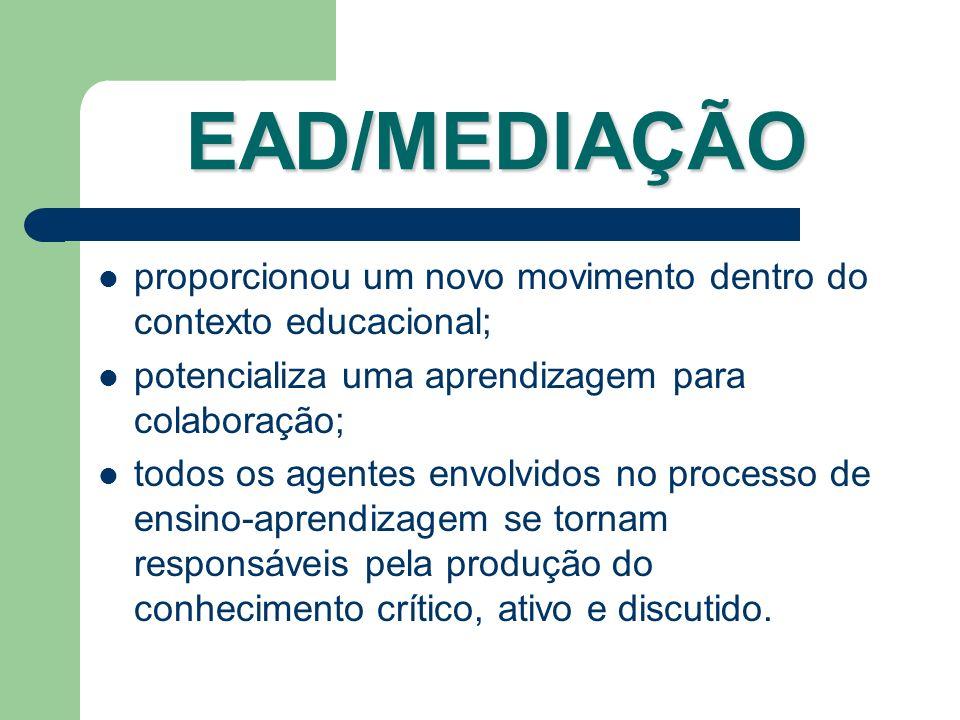 EAD/MEDIAÇÃO proporcionou um novo movimento dentro do contexto educacional; potencializa uma aprendizagem para colaboração; todos os agentes envolvido