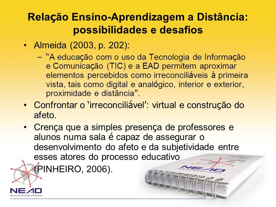 Rela ç ão Ensino-Aprendizagem a Distância: possibilidades e desafios Almeida (2003, p. 202): – A educa ç ão com o uso da Tecnologia de Informa ç ão e