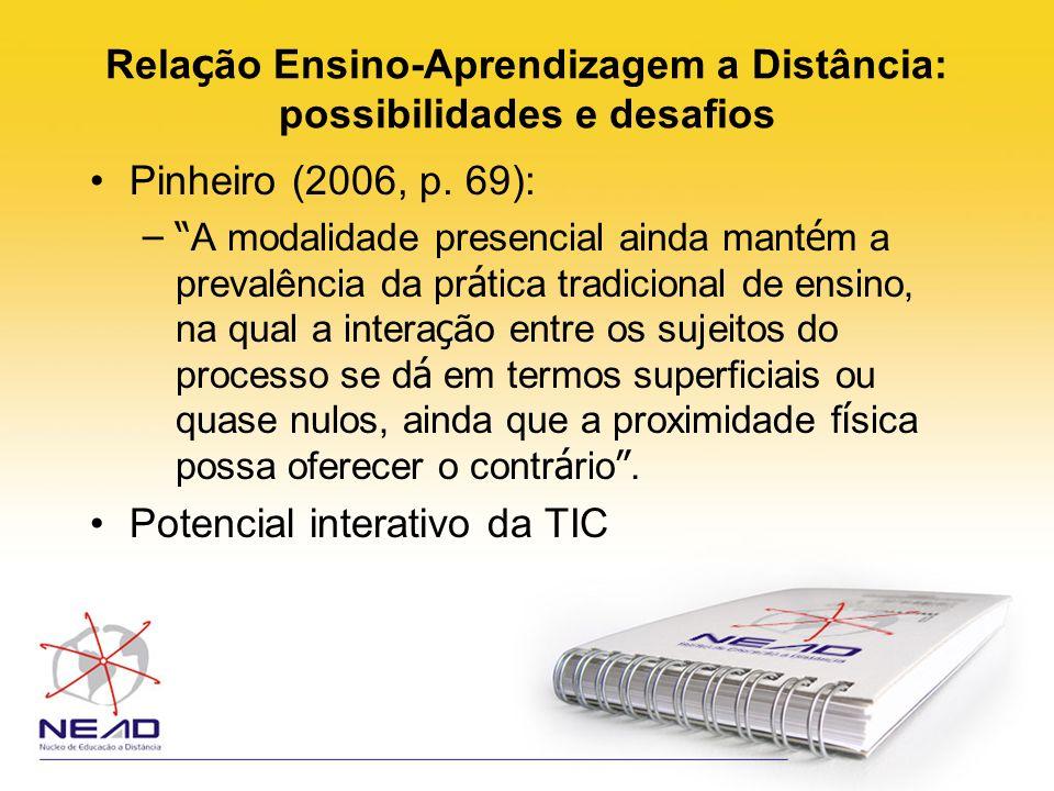 Rela ç ão Ensino-Aprendizagem a Distância: possibilidades e desafios Pinheiro (2006, p. 69): – A modalidade presencial ainda mant é m a prevalência da