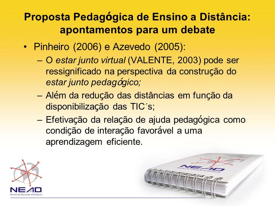 Proposta Pedag ó gica de Ensino a Distância: apontamentos para um debate Pinheiro (2006) e Azevedo (2005): –O estar junto virtual (VALENTE, 2003) pode