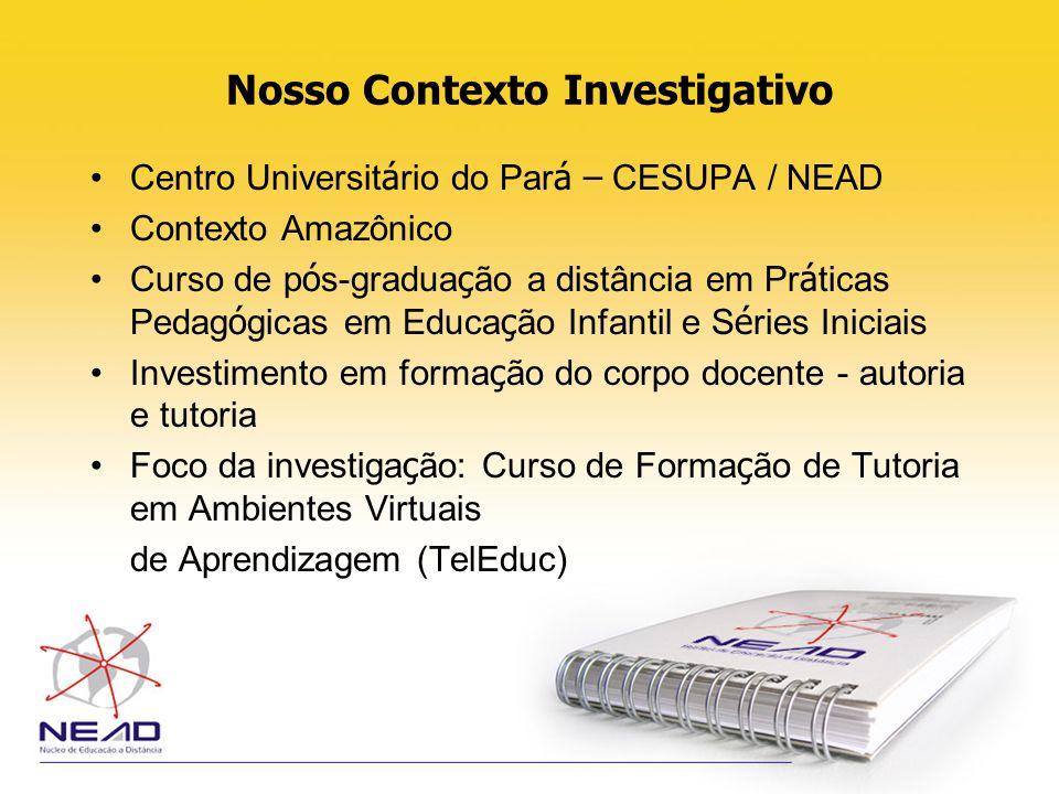 Nosso Contexto Investigativo Centro Universit á rio do Par á – CESUPA / NEAD Contexto Amazônico Curso de p ó s-gradua ç ão a distância em Pr á ticas P