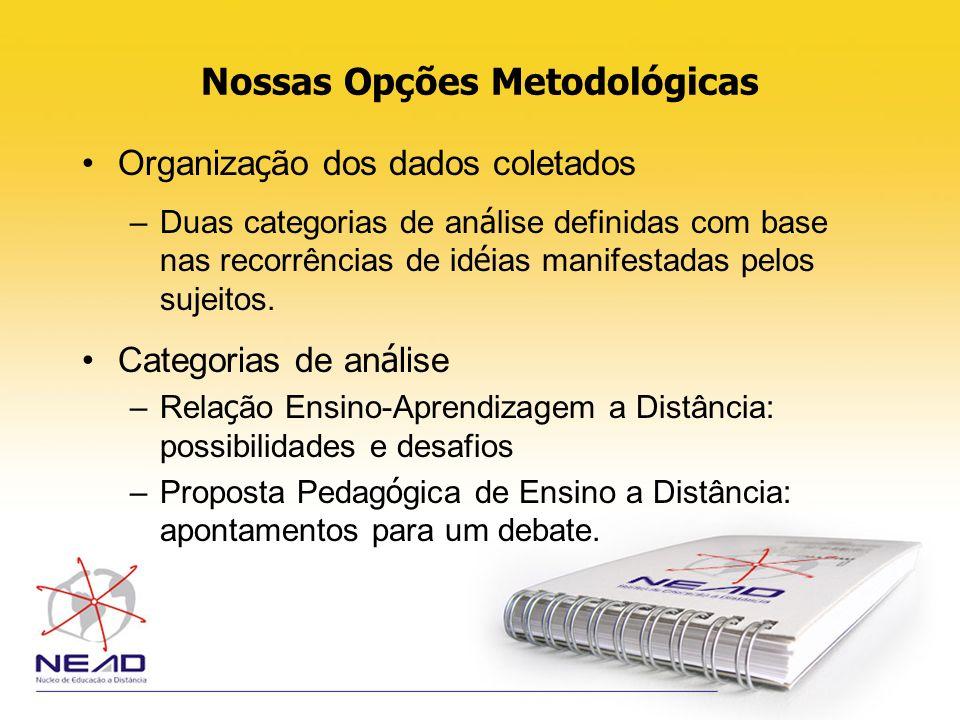 Nossas Opções Metodológicas Organiza ç ão dos dados coletados –Duas categorias de an á lise definidas com base nas recorrências de id é ias manifestad