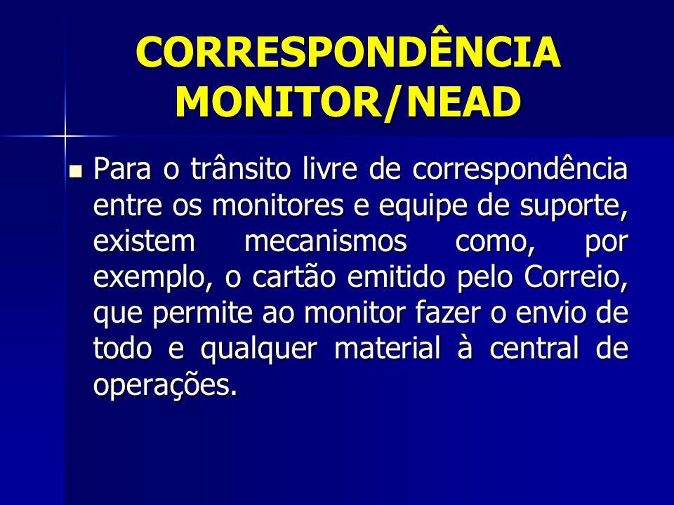 CORRESPONDÊNCIA MONITOR/NEAD Para o trânsito livre de correspondência entre os monitores e equipe de suporte, existem mecanismos como, por exemplo, o