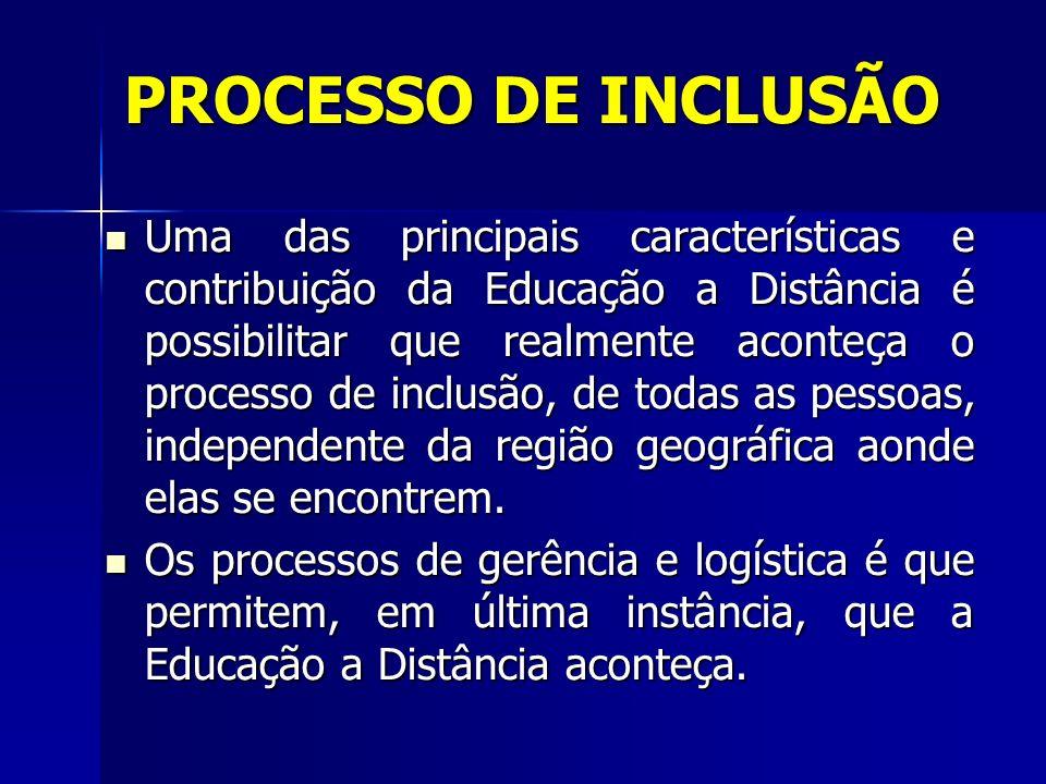 Uma das principais características e contribuição da Educação a Distância é possibilitar que realmente aconteça o processo de inclusão, de todas as pe