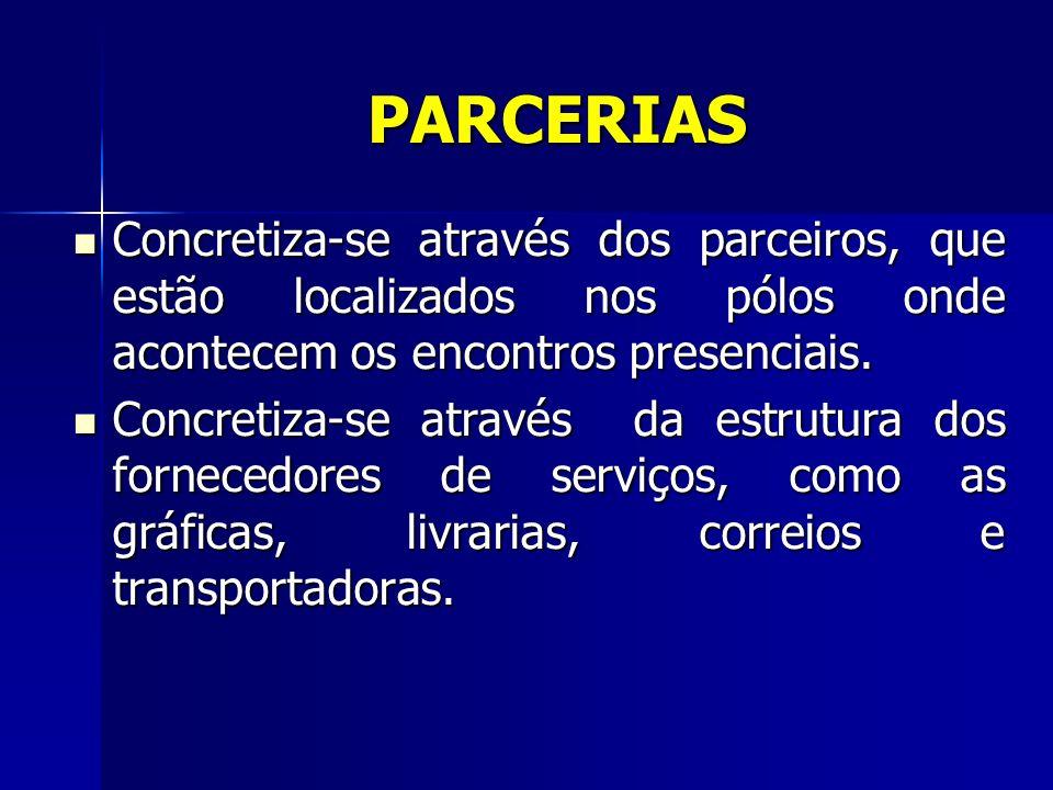 PARCERIAS Concretiza-se através dos parceiros, que estão localizados nos pólos onde acontecem os encontros presenciais. Concretiza-se através dos parc