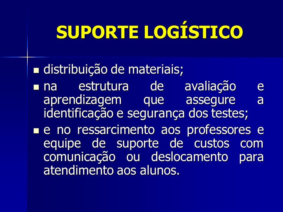 SUPORTE LOGÍSTICO distribuição de materiais; distribuição de materiais; na estrutura de avaliação e aprendizagem que assegure a identificação e segura