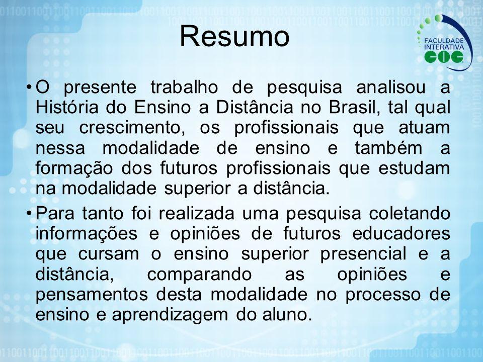 Resumo O presente trabalho de pesquisa analisou a História do Ensino a Distância no Brasil, tal qual seu crescimento, os profissionais que atuam nessa