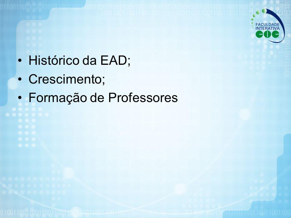 Histórico da EAD; Crescimento; Formação de Professores