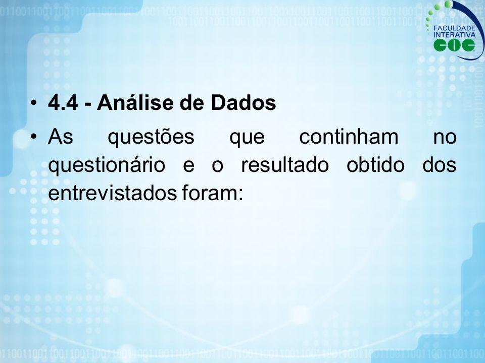 4.4 - Análise de Dados As questões que continham no questionário e o resultado obtido dos entrevistados foram: