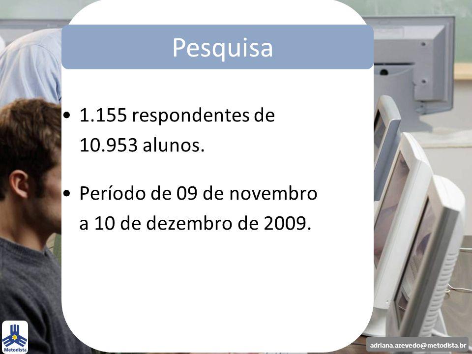 adriana.azevedo@metodista.br Pesquisa 1.155 respondentes de 10.953 alunos. Período de 09 de novembro a 10 de dezembro de 2009. Pesquisa