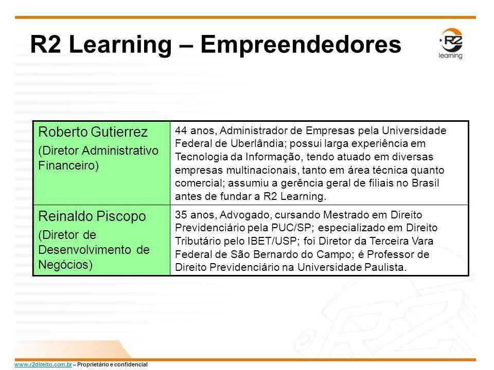 www.r2direito.com.brwww.r2direito.com.br – Proprietário e confidencial R2 Learning – Empreendedores Roberto Gutierrez (Diretor Administrativo Financei