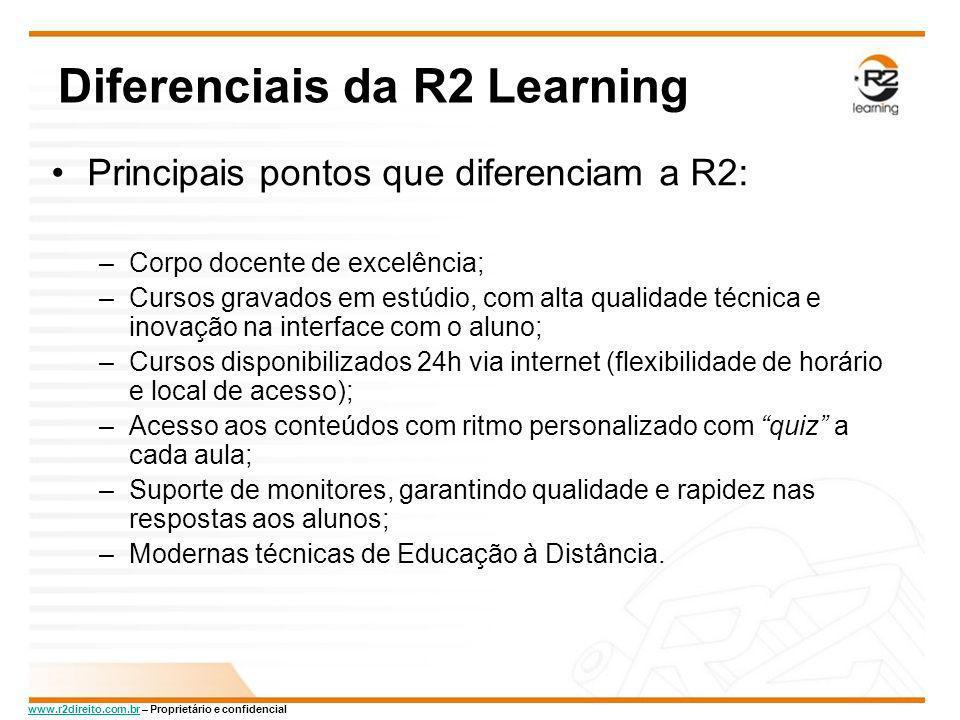 www.r2direito.com.brwww.r2direito.com.br – Proprietário e confidencial Diferenciais da R2 Learning Principais pontos que diferenciam a R2: –Corpo doce
