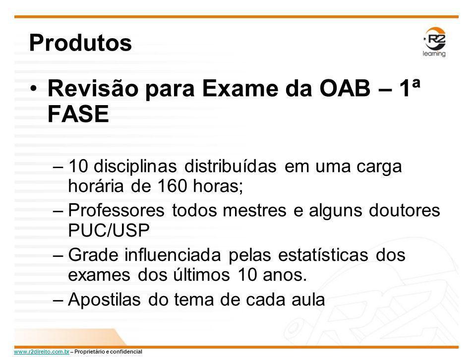 www.r2direito.com.brwww.r2direito.com.br – Proprietário e confidencial Produtos Revisão para Exame da OAB – 1ª FASE –10 disciplinas distribuídas em um