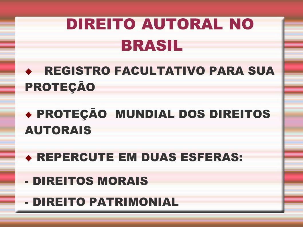 DIREITO AUTORAL NO BRASIL REGISTRO FACULTATIVO PARA SUA PROTEÇÃO PROTEÇÃO MUNDIAL DOS DIREITOS AUTORAIS REPERCUTE EM DUAS ESFERAS: - DIREITOS MORAIS -