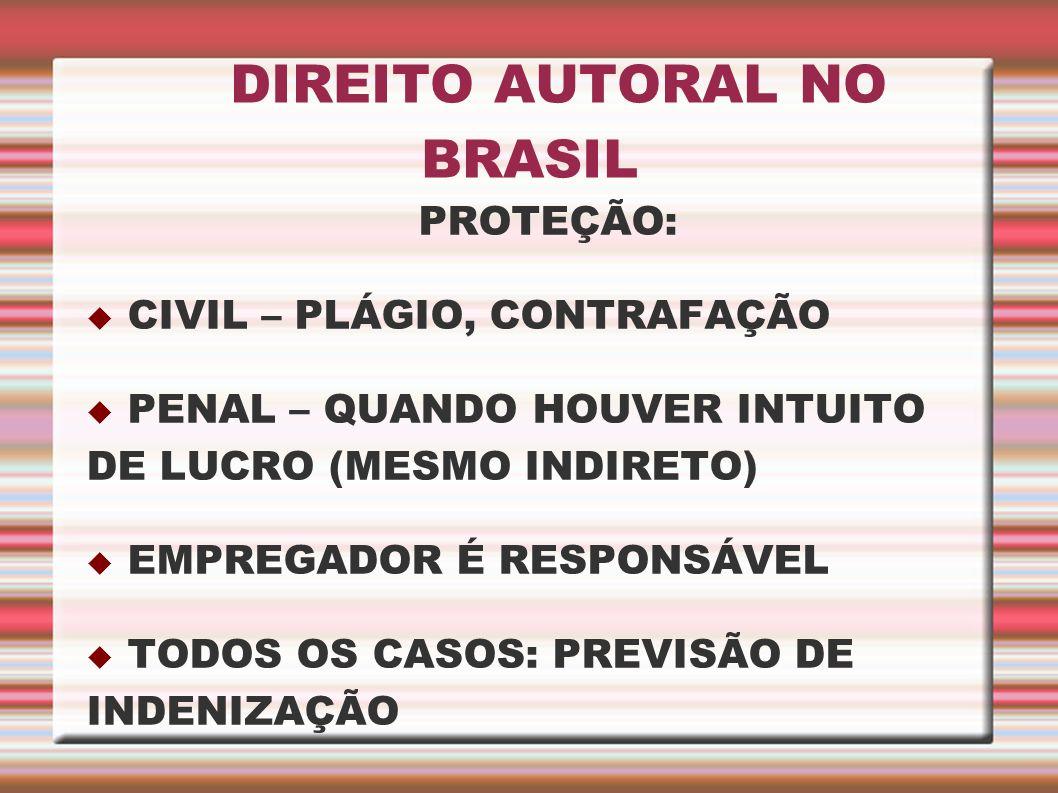 DIREITO AUTORAL NO BRASIL PROTEÇÃO: CIVIL – PLÁGIO, CONTRAFAÇÃO PENAL – QUANDO HOUVER INTUITO DE LUCRO (MESMO INDIRETO) EMPREGADOR É RESPONSÁVEL TODOS