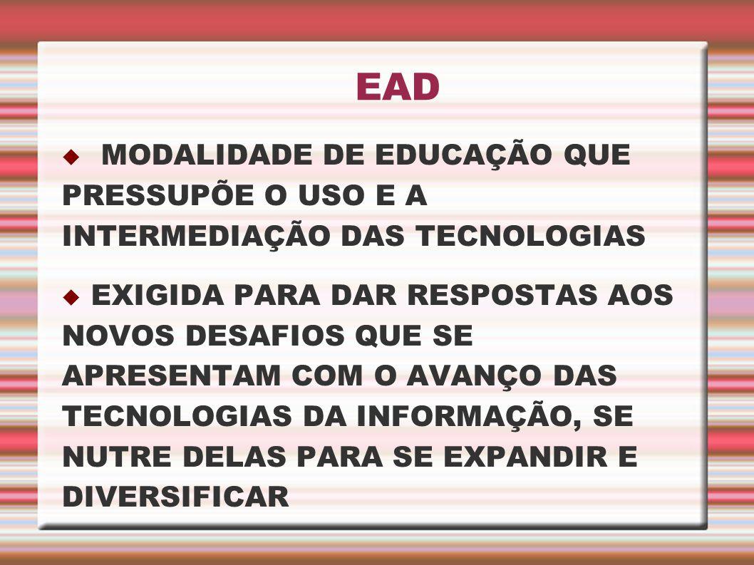 EAD MODALIDADE DE EDUCAÇÃO QUE PRESSUPÕE O USO E A INTERMEDIAÇÃO DAS TECNOLOGIAS EXIGIDA PARA DAR RESPOSTAS AOS NOVOS DESAFIOS QUE SE APRESENTAM COM O
