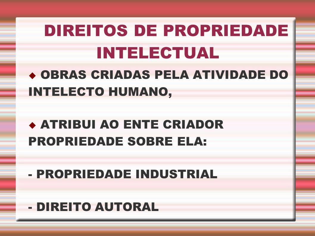 DIREITOS DE PROPRIEDADE INTELECTUAL OBRAS CRIADAS PELA ATIVIDADE DO INTELECTO HUMANO, ATRIBUI AO ENTE CRIADOR PROPRIEDADE SOBRE ELA: - PROPRIEDADE IND