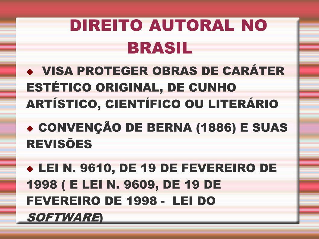 DIREITO AUTORAL NO BRASIL VISA PROTEGER OBRAS DE CARÁTER ESTÉTICO ORIGINAL, DE CUNHO ARTÍSTICO, CIENTÍFICO OU LITERÁRIO CONVENÇÃO DE BERNA (1886) E SU