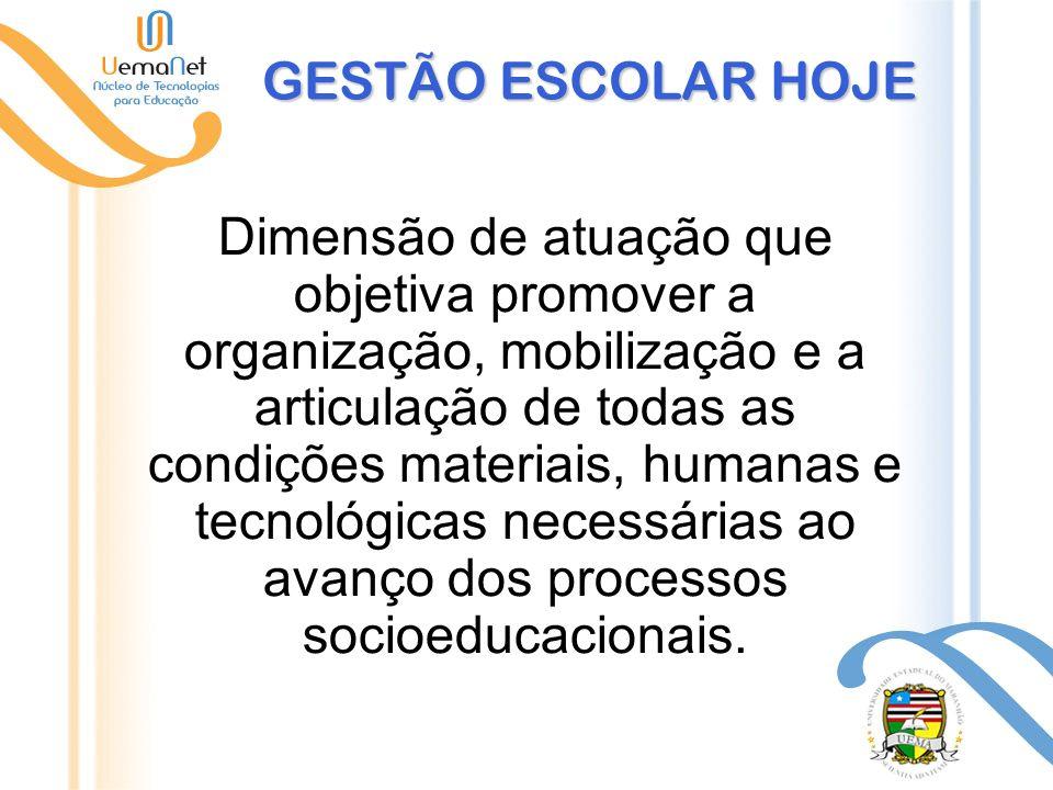 GESTÃO ESCOLAR HOJE Dimensão de atuação que objetiva promover a organização, mobilização e a articulação de todas as condições materiais, humanas e tecnológicas necessárias ao avanço dos processos socioeducacionais.