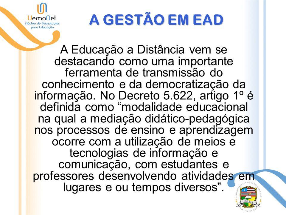 A GESTÃO EM EAD A Educação a Distância vem se destacando como uma importante ferramenta de transmissão do conhecimento e da democratização da informação.