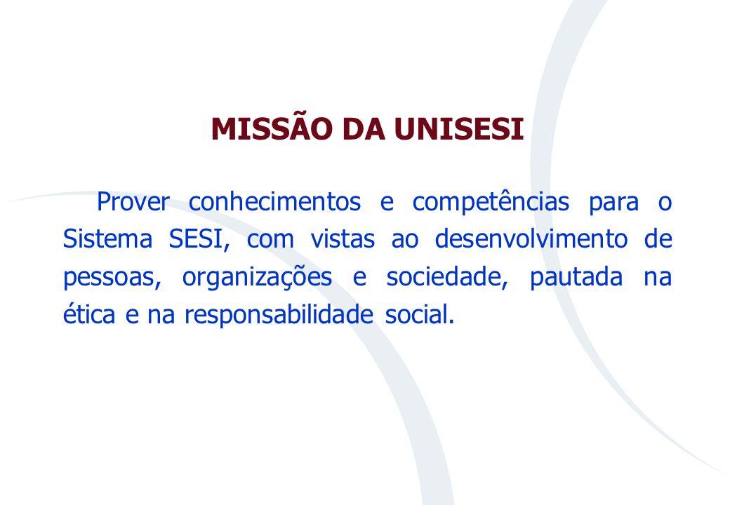 MISSÃO DA UNISESI Prover conhecimentos e competências para o Sistema SESI, com vistas ao desenvolvimento de pessoas, organizações e sociedade, pautada na ética e na responsabilidade social.