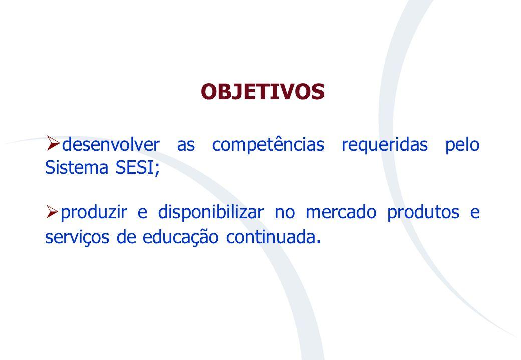 MISSÃO DA UNISESI Prover conhecimentos e competências para o Sistema SESI, com vistas ao desenvolvimento de pessoas, organizações e sociedade, pautada