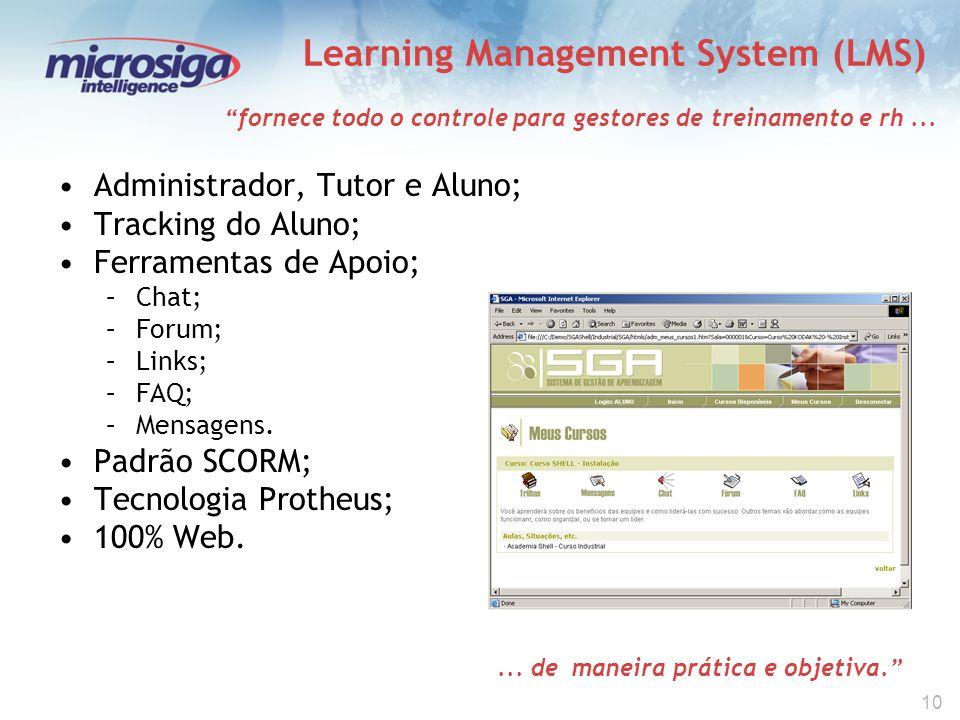 10 Learning Management System (LMS) Administrador, Tutor e Aluno; Tracking do Aluno; Ferramentas de Apoio; –Chat; –Forum; –Links; –FAQ; –Mensagens.