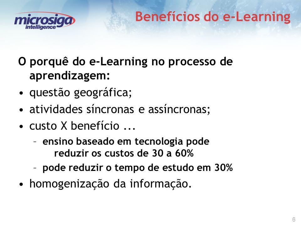 6 Benefícios do e-Learning O porquê do e-Learning no processo de aprendizagem: questão geográfica; atividades síncronas e assíncronas; custo X benefício...