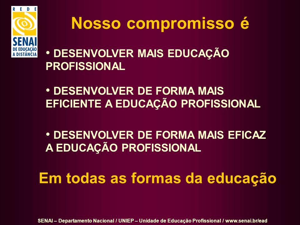 SENAI – Departamento Nacional / UNIEP – Unidade de Educação Profissional / www.senai.br/ead DESENVOLVER MAIS EDUCAÇÃO PROFISSIONAL DESENVOLVER DE FORM