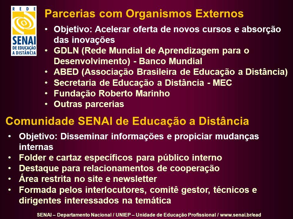 SENAI – Departamento Nacional / UNIEP – Unidade de Educação Profissional / www.senai.br/ead Parcerias com Organismos Externos Objetivo: Acelerar ofert