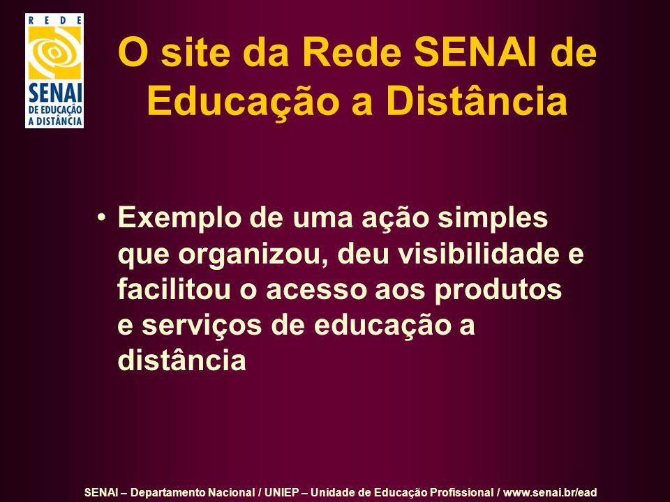SENAI – Departamento Nacional / UNIEP – Unidade de Educação Profissional / www.senai.br/ead O site da Rede SENAI de Educação a Distância Exemplo de um