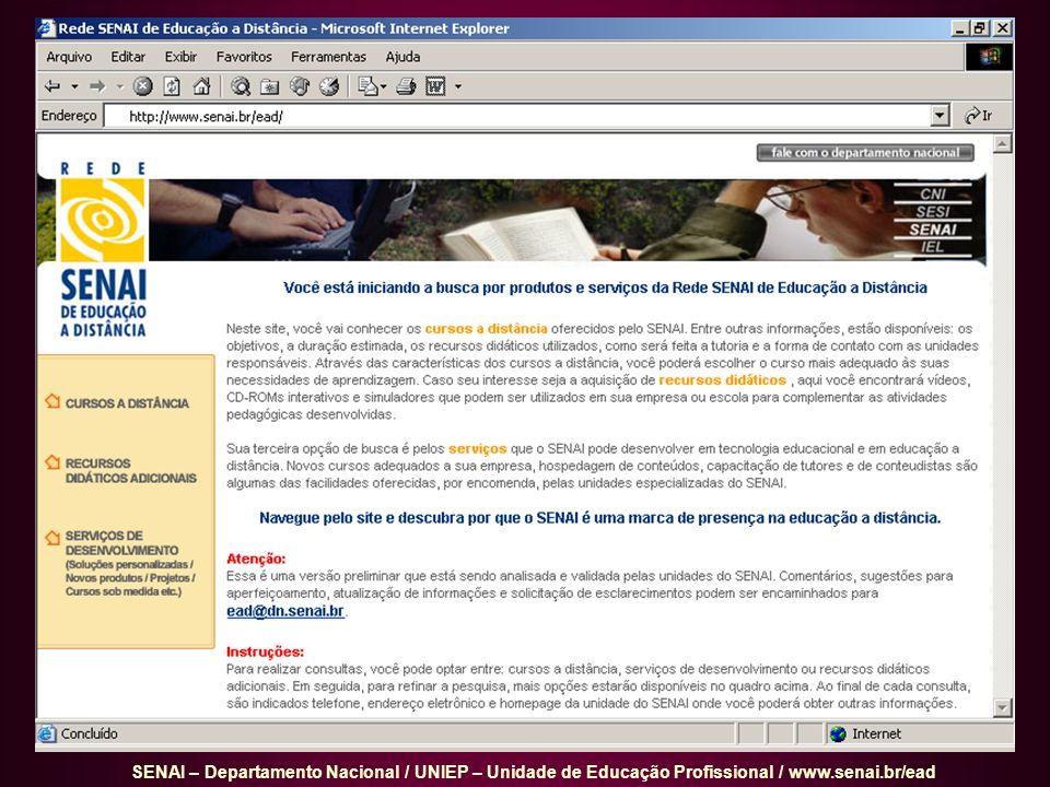 SENAI – Departamento Nacional / UNIEP – Unidade de Educação Profissional / www.senai.br/ead