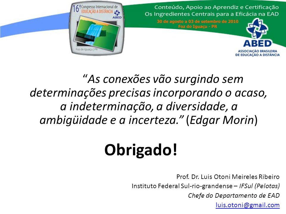 Obrigado! Prof. Dr. Luis Otoni Meireles Ribeiro Instituto Federal Sul-rio-grandense – IFSul (Pelotas) Chefe do Departamento de EAD luis.otoni@gmail.co