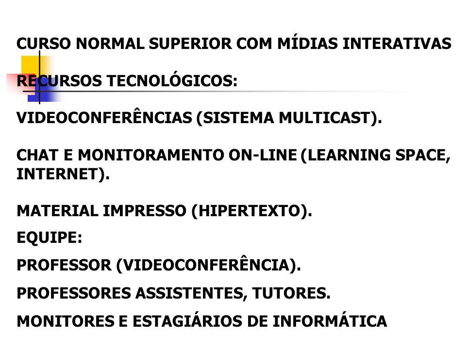 CURSO NORMAL SUPERIOR COM MÍDIAS INTERATIVAS RECURSOS TECNOLÓGICOS: VIDEOCONFERÊNCIAS (SISTEMA MULTICAST). CHAT E MONITORAMENTO ON-LINE (LEARNING SPAC
