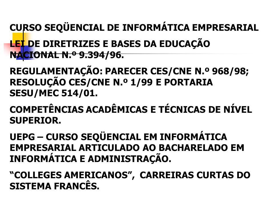CURSO SEQÜENCIAL DE INFORMÁTICA EMPRESARIAL LEI DE DIRETRIZES E BASES DA EDUCAÇÃO NACIONAL N.º 9.394/96. REGULAMENTAÇÃO: PARECER CES/CNE N.º 968/98; R